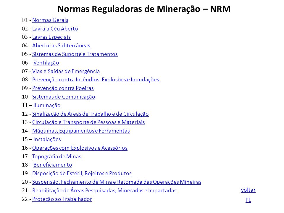 Normas Reguladoras de Mineração – NRM 01 - Normas GeraisNormas Gerais 02 - Lavra a Céu AbertoLavra a Céu Aberto 03 - Lavras EspeciaisLavras Especiais