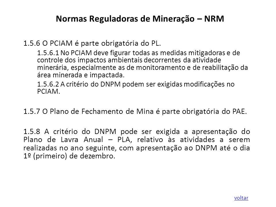 Normas Reguladoras de Mineração – NRM 1.5.6 O PCIAM é parte obrigatória do PL. 1.5.6.1 No PCIAM deve figurar todas as medidas mitigadoras e de control