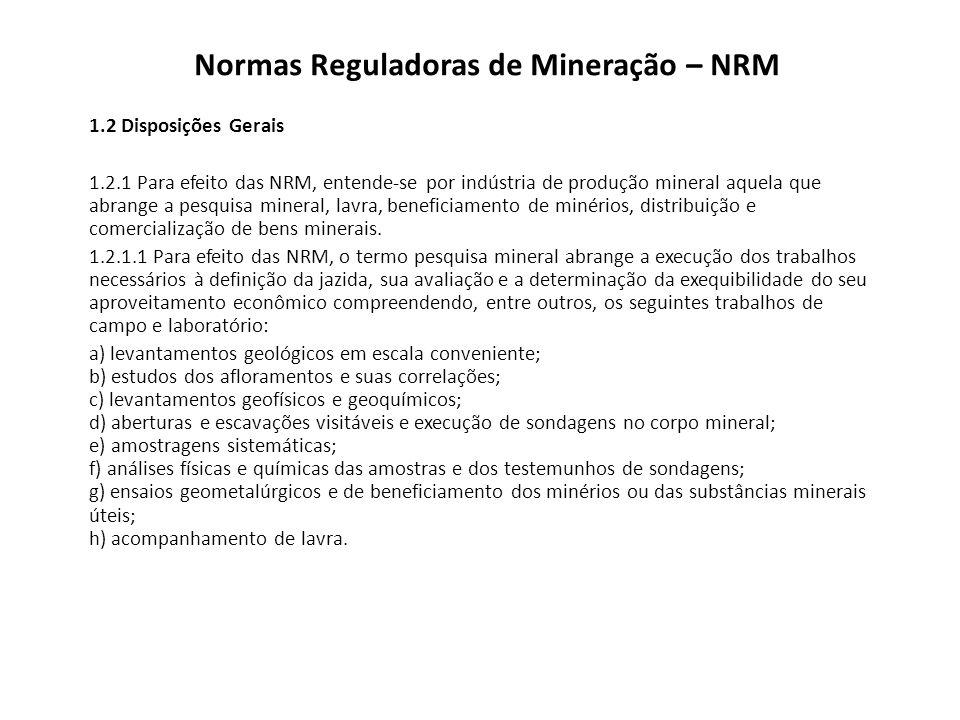 Normas Reguladoras de Mineração – NRM 1.5 Mecanismos e Instrumentos de Informação e Controle 1.5.1 As NRM constituem uma base para a elaboração e análise dos seguintes documentos, de apresentação obrigatória ao DNPM:NRM a) Plano de Pesquisa; b) Requerimento de Guia de Utilização; c) Requerimento de Registro de Extração; d) Requerimento de Grupamento Mineiro; e) Relatório Final de Pesquisa; f) Plano de Aproveitamento Econômico – PAE; g) Plano de Lavra – PL; h) Relatório Anual de Lavra – RAL; i) Plano de Fechamento, Suspensão e Retomada das Operações Mineiras; j) Plano de Controle de Impacto Ambiental na Mineração – PCIAM; l) Projeto Especial e m) Cumprimento de exigência.
