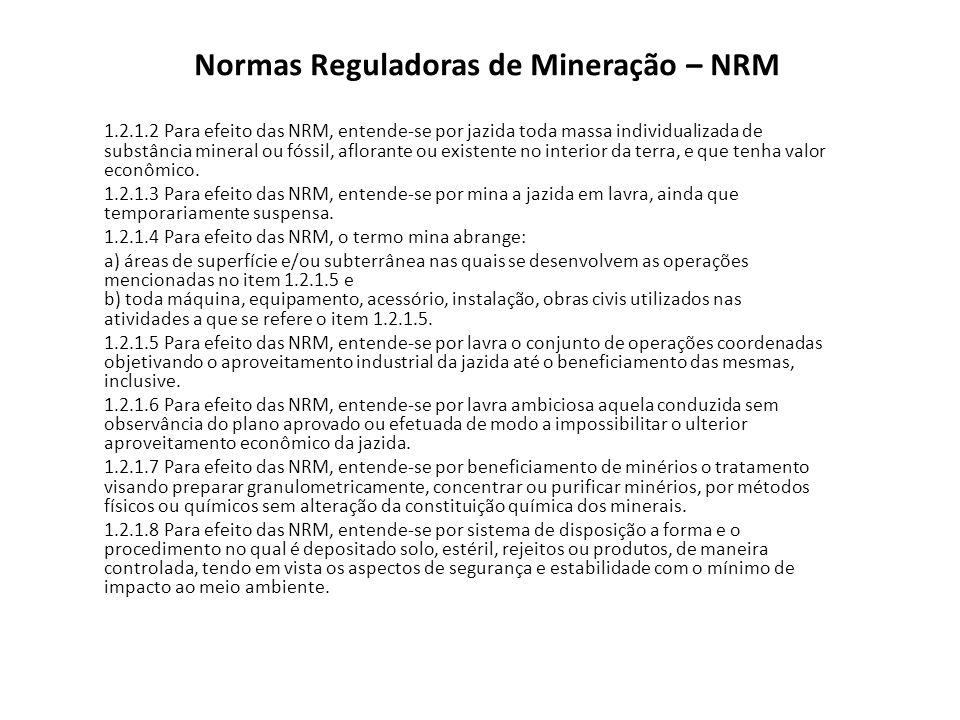 PAE Plano de Lavra 1.5.31.5.3 PGR - PE - PRS 1.4.1.10 a 1.4.1.13 1.5.5 PCIAM 1.5.11.5.1, 1.5.61.5.6 NRM 2121 1.5.3.2 NRMs 02 a 1902 a 19 NRM 2222 NRM 20 - Suspensão, Fechamento de Mina e Retomada das Operações Mineiras 1.5.71.5.7
