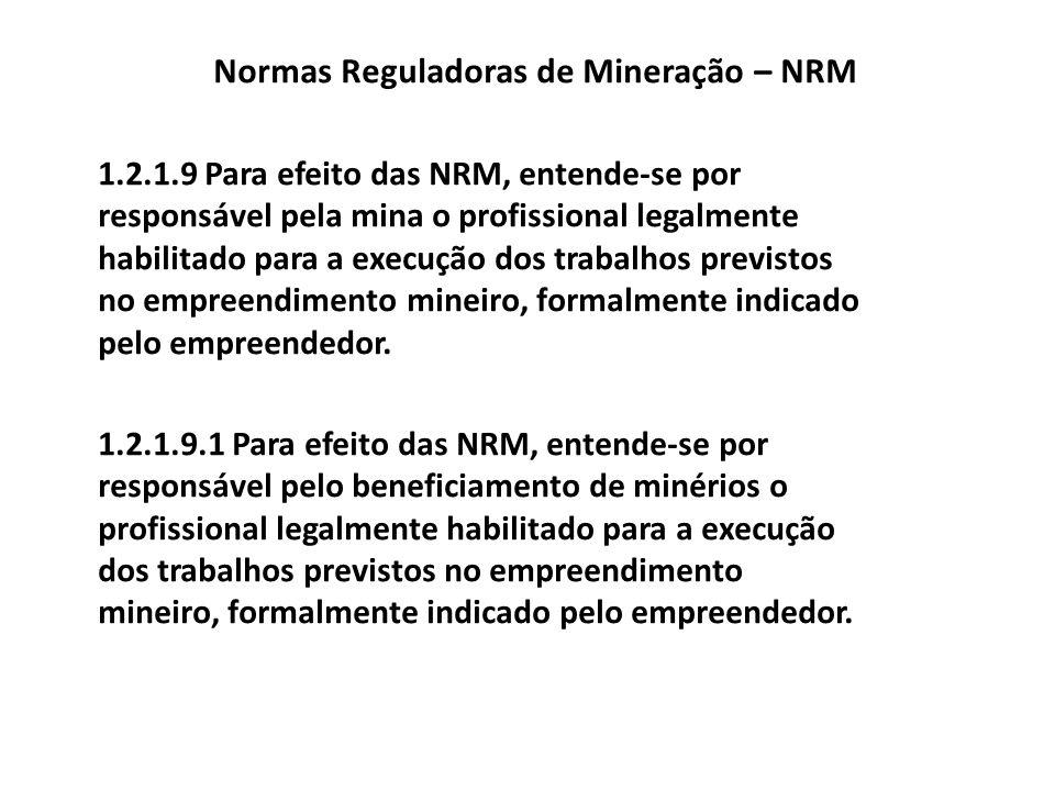 Normas Reguladoras de Mineração – NRM 1.2.1.10 Para efeito das NRM, entende-se por empreendedor, todo: a) detentor de registro de licença; b) detentor de permissão de lavra garimpeira; c) detentor de alvará de pesquisa; d) detentor de concessão de lavra; e) detentor de manifesto de mina; f) detentor de registro de extração; g) aquele que distribui bens minerais; h) aquele que comercializa bens minerais e i) aquele que beneficia bens minerais.