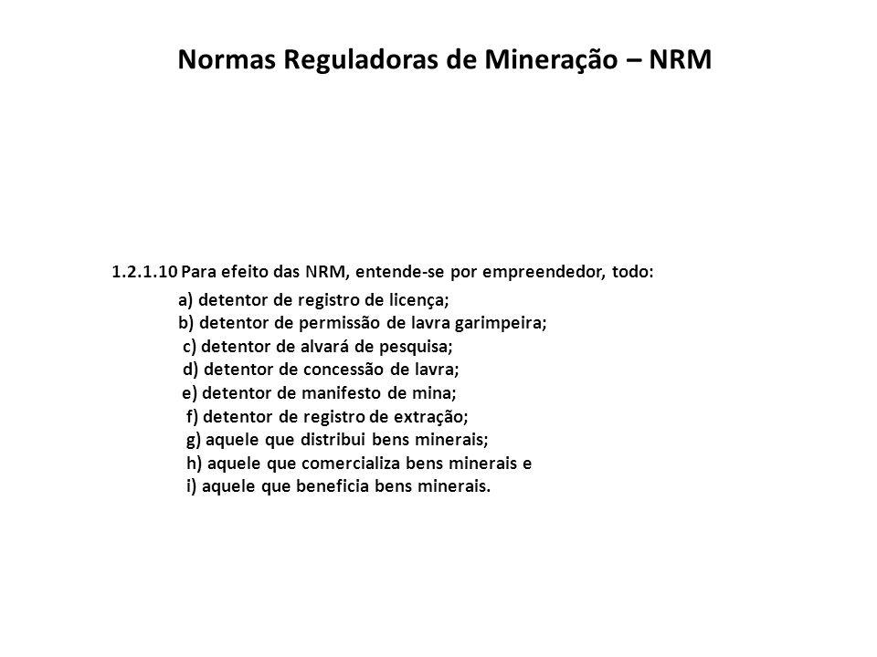 Normas Reguladoras de Mineração – NRM 1.2.1.11 Toda atividade minerária no país deve ser desenvolvida em cumprimento ao disposto no Código de Mineração – CM e legislação correlativa.Código de Mineração – CM 1.2.1.12 As NRM regulam o CM e diplomas legais e seu cumprimento é obrigatório para o exercício de atividades minerárias, cabendo ao Departamento Nacional de Produção Mineral – DNPM a fiscalização de suas aplicações através de profissionais legalmente habilitados.