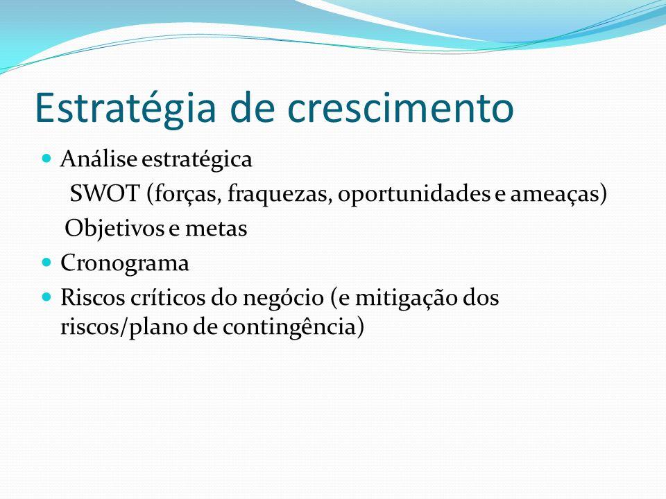 Estratégia de crescimento Análise estratégica SWOT (forças, fraquezas, oportunidades e ameaças) Objetivos e metas Cronograma Riscos críticos do negóci