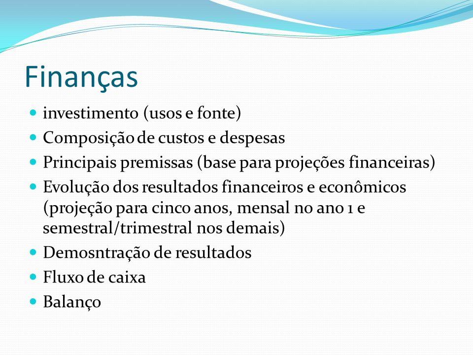 Finanças investimento (usos e fonte) Composição de custos e despesas Principais premissas (base para projeções financeiras) Evolução dos resultados fi