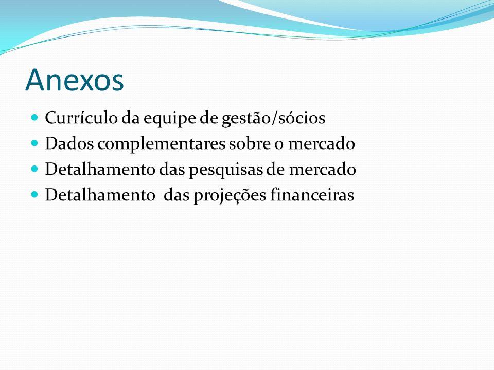 Anexos Currículo da equipe de gestão/sócios Dados complementares sobre o mercado Detalhamento das pesquisas de mercado Detalhamento das projeções fina
