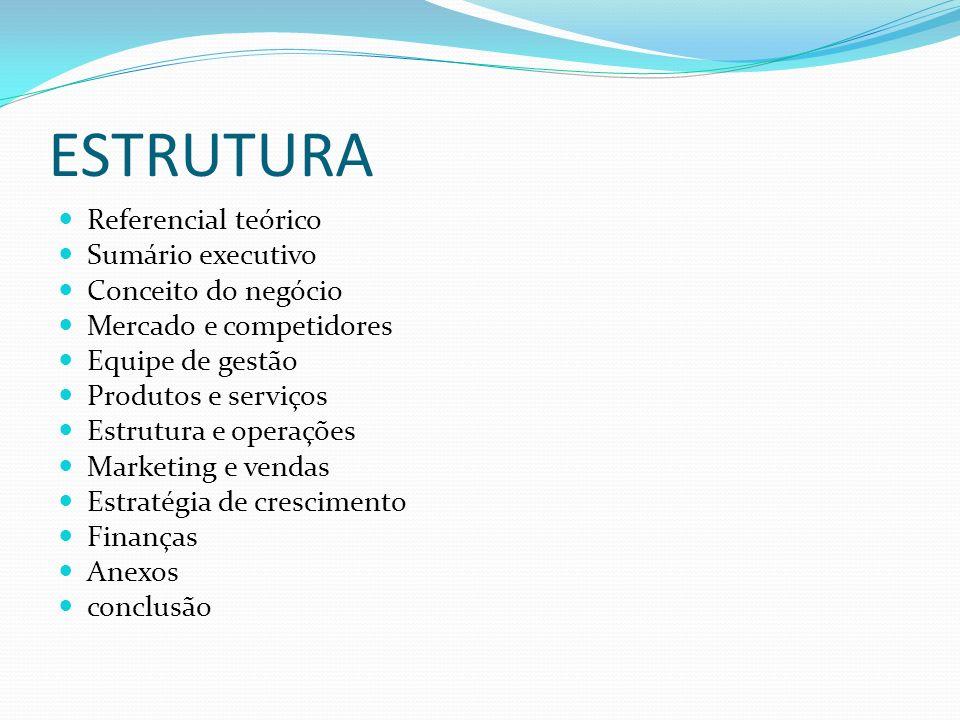 ESTRUTURA Referencial teórico Sumário executivo Conceito do negócio Mercado e competidores Equipe de gestão Produtos e serviços Estrutura e operações