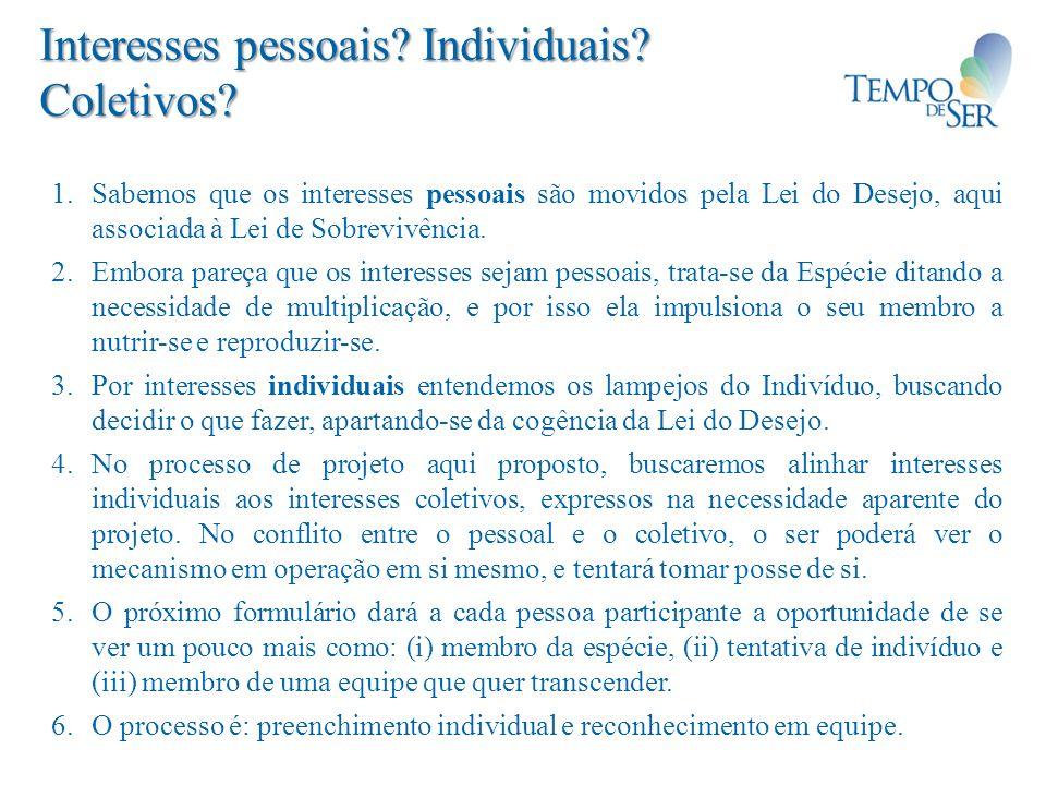Interesses pessoais? Individuais? Coletivos? 1.Sabemos que os interesses pessoais são movidos pela Lei do Desejo, aqui associada à Lei de Sobrevivênci