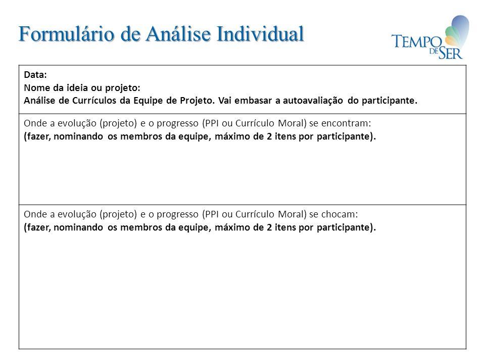 Formulário de Análise Individual Data: Nome da ideia ou projeto: Análise de Currículos da Equipe de Projeto. Vai embasar a autoavaliação do participan