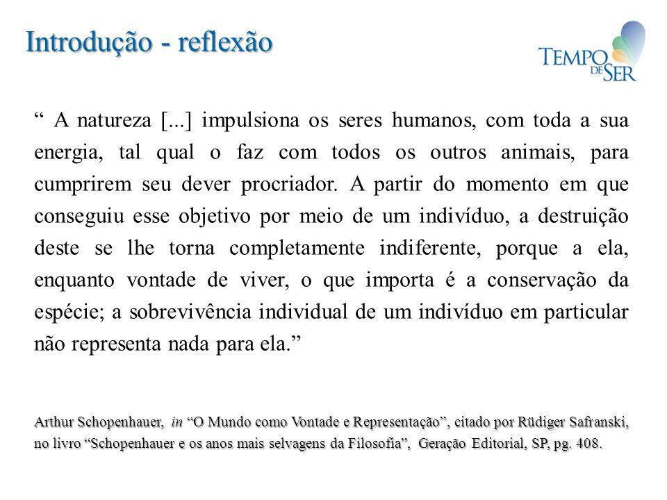 Introdução - reflexão A natureza [...] impulsiona os seres humanos, com toda a sua energia, tal qual o faz com todos os outros animais, para cumprirem