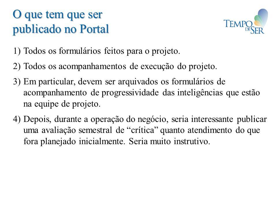 O que tem que ser publicado no Portal 1) Todos os formulários feitos para o projeto. 2) Todos os acompanhamentos de execução do projeto. 3) Em particu