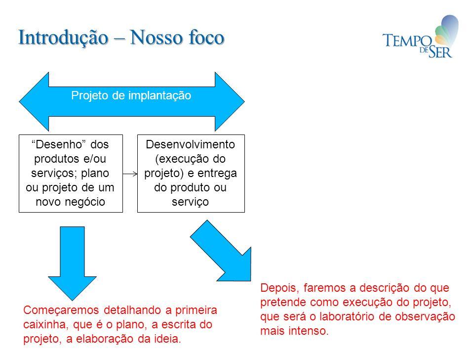 Introdução – Nosso foco Desenho dos produtos e/ou serviços; plano ou projeto de um novo negócio Desenvolvimento (execução do projeto) e entrega do pro