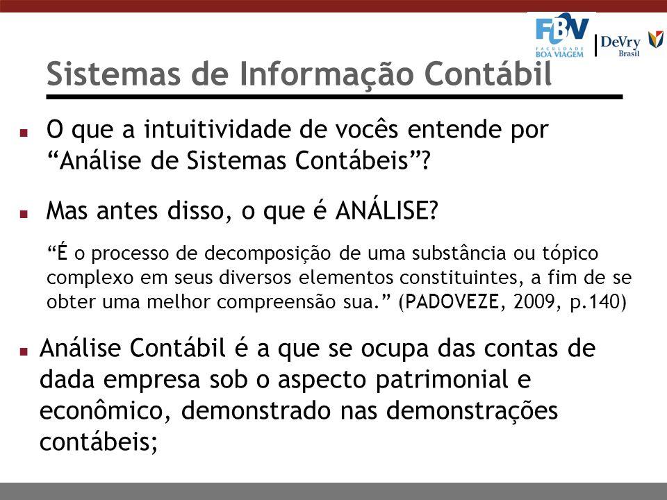 Sistemas de Informação Contábil n O que a intuitividade de vocês entende por Análise de Sistemas Contábeis.