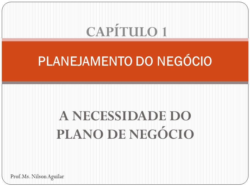 A NECESSIDADE DO PLANO DE NEGÓCIO PLANEJAMENTO DO NEGÓCIO CAPÍTULO 1 Prof.Ms. Nilson Aguilar
