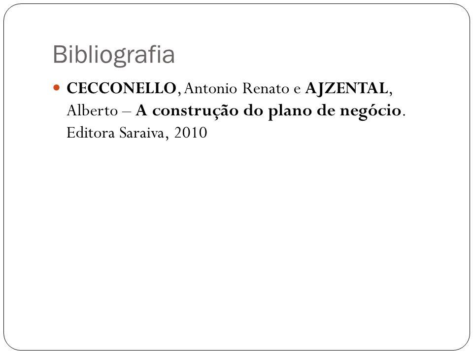 Bibliografia CECCONELLO, Antonio Renato e AJZENTAL, Alberto – A construção do plano de negócio. Editora Saraiva, 2010