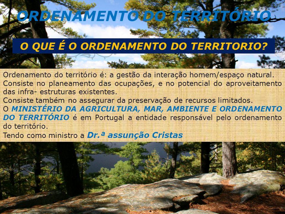 ORDENAMENTO DO TERRITÓRIO O QUE É O ORDENAMENTO DO TERRITORIO? Ordenamento do território é: a gestão da interação homem/espaço natural. Consiste no pl