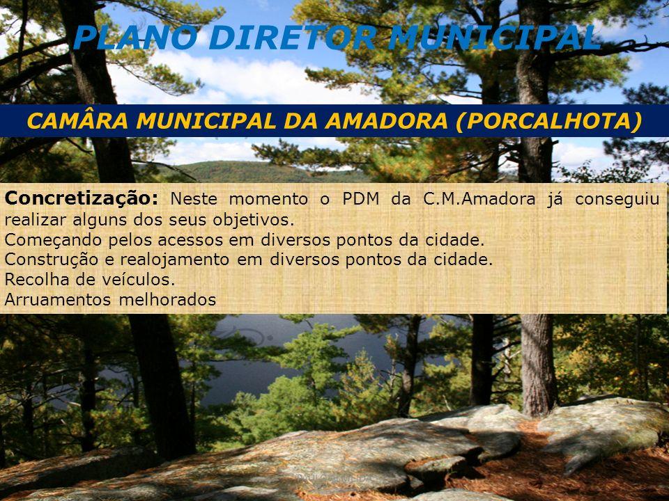 PLANO DIRETOR MUNICIPAL CAMÂRA MUNICIPAL DA AMADORA (PORCALHOTA) Concretização: Neste momento o PDM da C.M.Amadora já conseguiu realizar alguns dos seus objetivos.