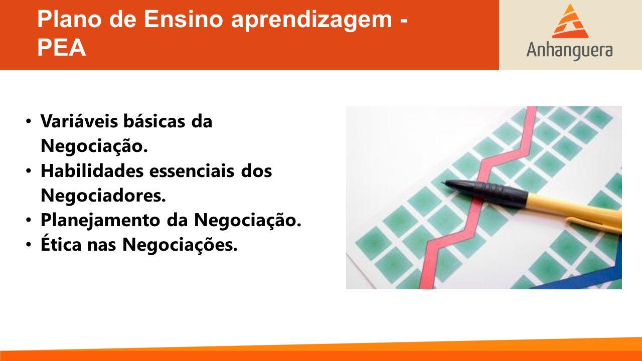 Plano de Ensino aprendizagem - PEA Variáveis básicas da Negociação. Habilidades essenciais dos Negociadores. Planejamento da Negociação. Ética nas Neg