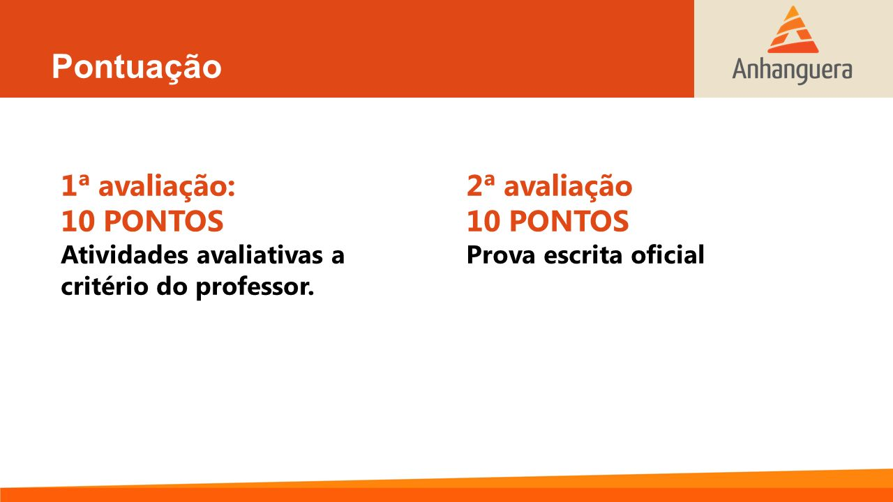 Pontuação 1ª avaliação: 10 PONTOS Atividades avaliativas a critério do professor. 2ª avaliação 10 PONTOS Prova escrita oficial
