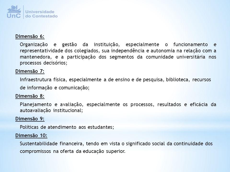 Dimensões Categorias de Análise Grupo de Indicadores As dimensões constituem o caminho metodológico que deverá garantir certa unidade nos indicadores avaliados e na essência das informações, de forma que possam também contribuir para análises institucionais no contexto do sistema nacional de educação superior.