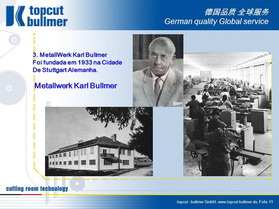topcut - bullmer GmbH, www.topcut-bullmer.de, Folie 11 German quality Global service 3. MetallWerk Karl Bullmer Foi fundada em 1933 na Cidade De Stutt