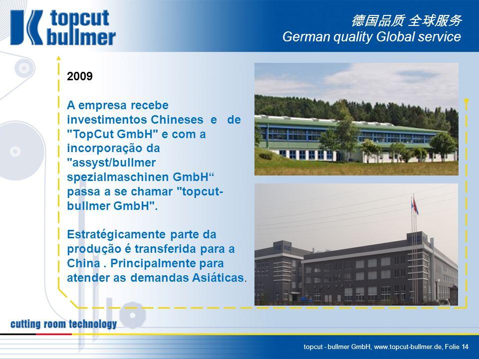 topcut - bullmer GmbH, www.topcut-bullmer.de, Folie 14 German quality Global service 2009 A empresa recebe investimentos Chineses e de TopCut GmbH e com a incorporação da assyst/bullmer spezialmaschinen GmbH passa a se chamar topcut- bullmer GmbH .