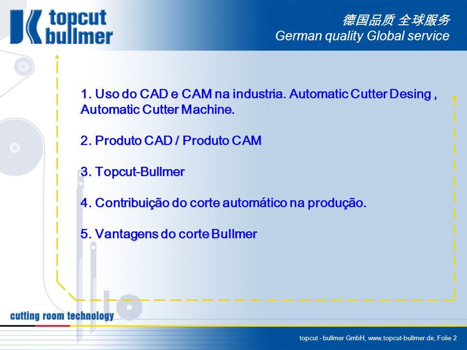 topcut - bullmer GmbH, www.topcut-bullmer.de, Folie 2 German quality Global service 1. Uso do CAD e CAM na industria. Automatic Cutter Desing, Automat