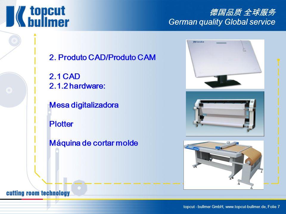 topcut - bullmer GmbH, www.topcut-bullmer.de, Folie 7 German quality Global service 2. Produto CAD/Produto CAM 2.1 CAD 2.1.2 hardware: Mesa digitaliza
