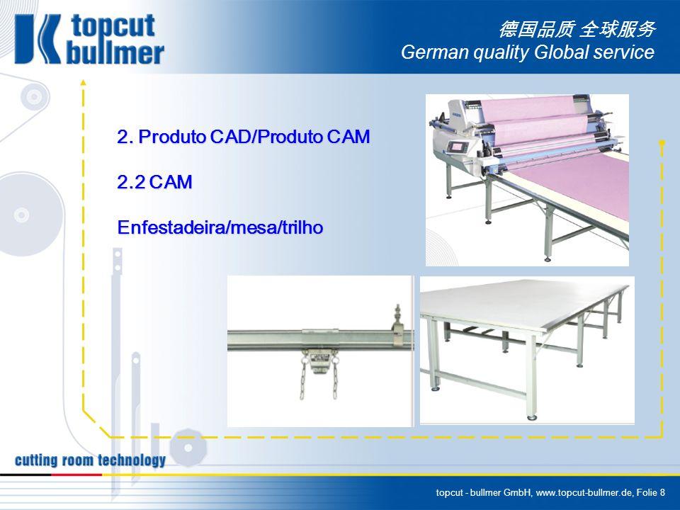 topcut - bullmer GmbH, www.topcut-bullmer.de, Folie 9 German quality Global service DADOS TECNICOS DAS ENFESTADEIRAS BULLMER Modelo W1800KW2000 Tensão1P/220v Potencia do motor1KW Largura maxima do tecido1600mm - 63 1900mm - 75 2100mm - 83 Largura maxima da mesa1830mm - 72 2130mm - 84 2330mm - 92 Peso da maquina265KG290KG340KG360KG Peso maximo do tecido200 KG max60 KG max Diametro maximo do rolo 450 mm max Velocidade maxima da maquina86m/min max Altura maxima do enfesto220mm Impar - 150mm Zig-Zag Dimenções da maquina (mm)2300x1450x8002600x1450x8002600x1800x9502800x1800x950 Dimenções da embalagem (mm)2500x1450x11002800x1450x11002800x2000x12503000x2000x1250 Peso NW / GW445 / 675 KG495 / 755 KG570 / 860 KG610 / 970 KG