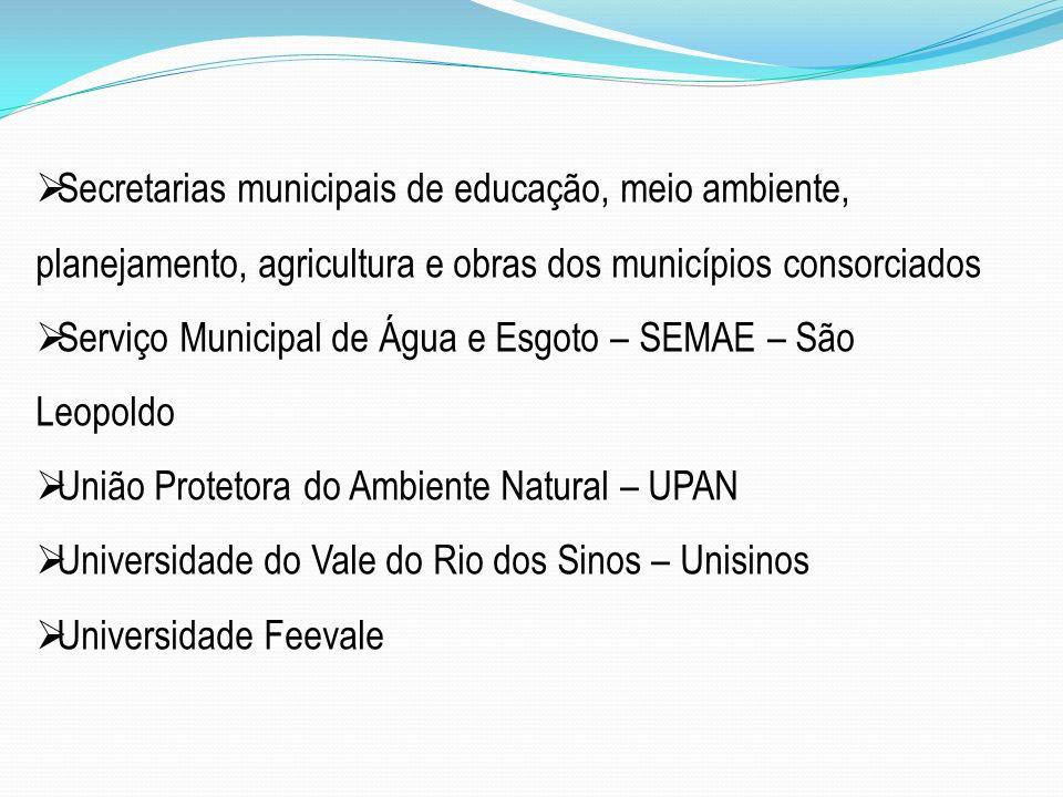 Secretarias municipais de educação, meio ambiente, planejamento, agricultura e obras dos municípios consorciados Serviço Municipal de Água e Esgoto –