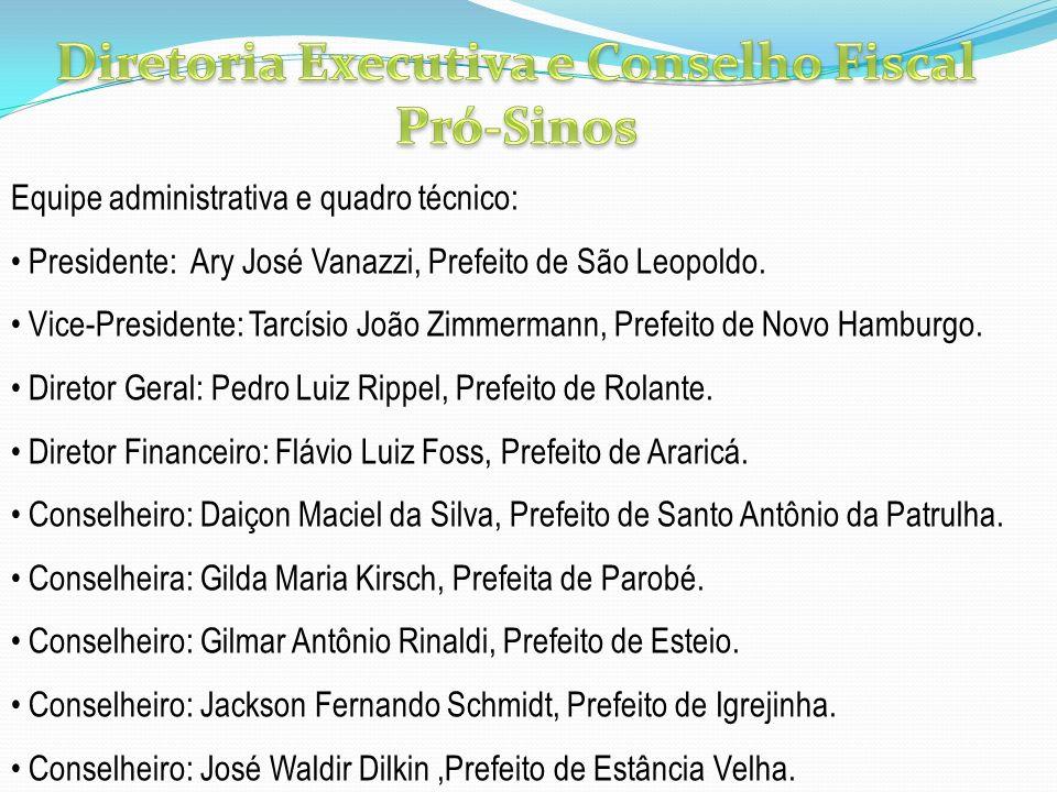 Equipe administrativa e quadro técnico: Presidente: Ary José Vanazzi, Prefeito de São Leopoldo. Vice-Presidente: Tarcísio João Zimmermann, Prefeito de