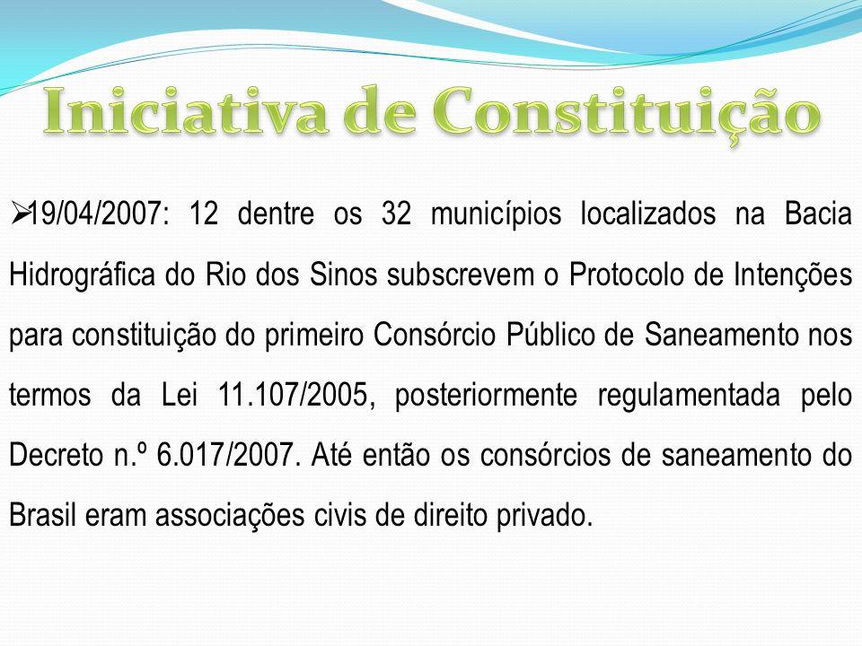 19/04/2007: 12 dentre os 32 municípios localizados na Bacia Hidrográfica do Rio dos Sinos subscrevem o Protocolo de Intenções para constituição do pri