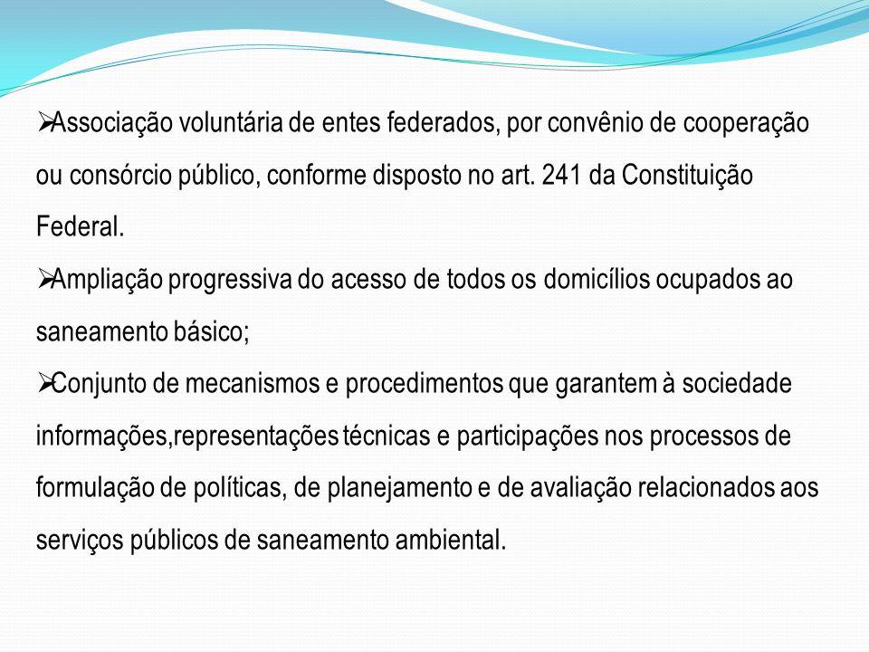 Associação voluntária de entes federados, por convênio de cooperação ou consórcio público, conforme disposto no art. 241 da Constituição Federal. Ampl