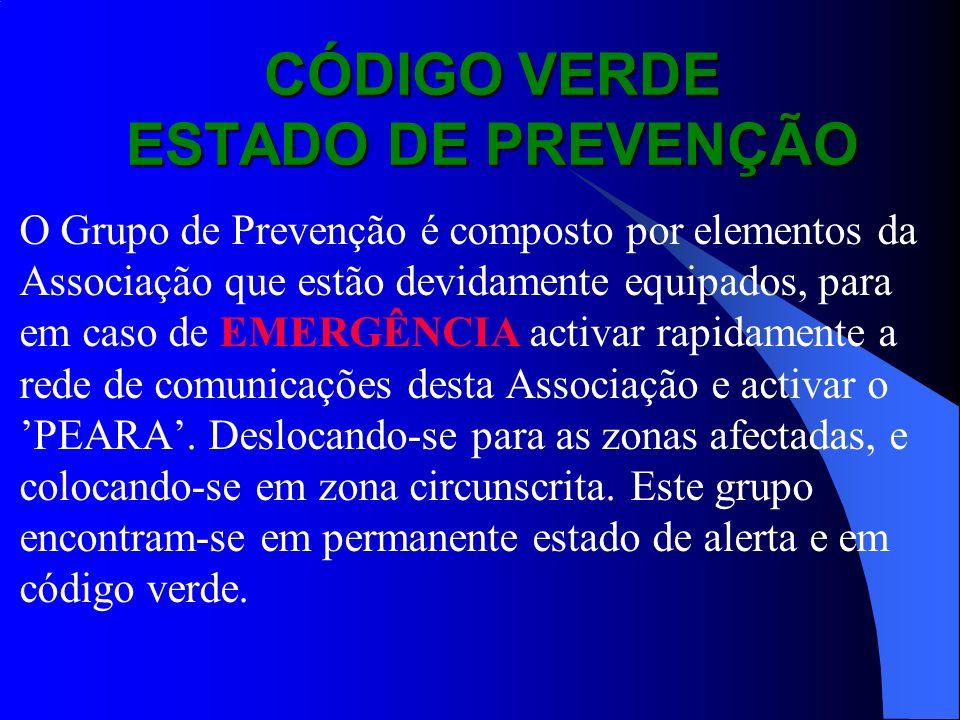 CÓDIGO VERDE ESTADO DE PREVENÇÃO O Grupo de Prevenção é composto por elementos da Associação que estão devidamente equipados, para em caso de EMERGÊNC