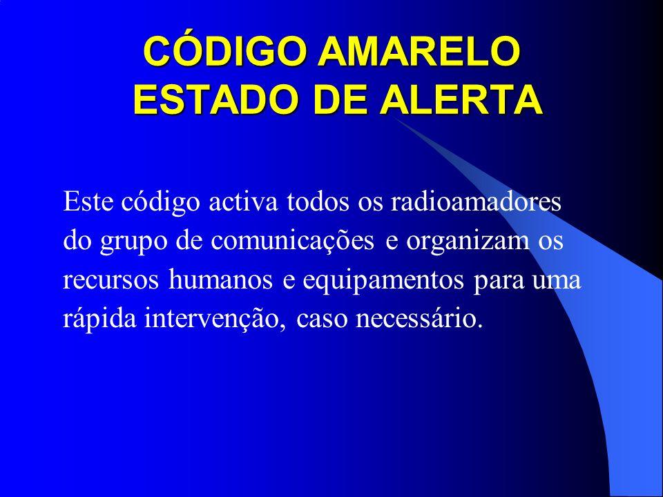 CÓDIGO AMARELO ESTADO DE ALERTA Este código activa todos os radioamadores do grupo de comunicações e organizam os recursos humanos e equipamentos para