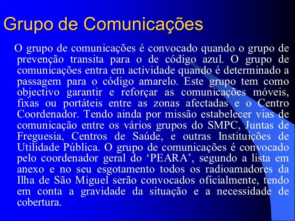Grupo de Comunicações O grupo de comunicações é convocado quando o grupo de prevenção transita para o de código azul. O grupo de comunicações entra em