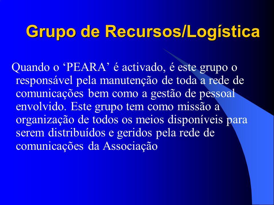 Grupo de Recursos/Logística Quando o PEARA é activado, é este grupo o responsável pela manutenção de toda a rede de comunicações bem como a gestão de