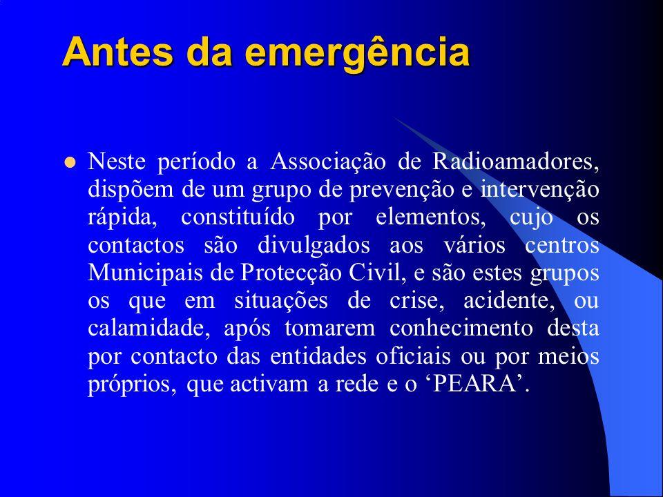 Antes da emergência Neste período a Associação de Radioamadores, dispõem de um grupo de prevenção e intervenção rápida, constituído por elementos, cuj