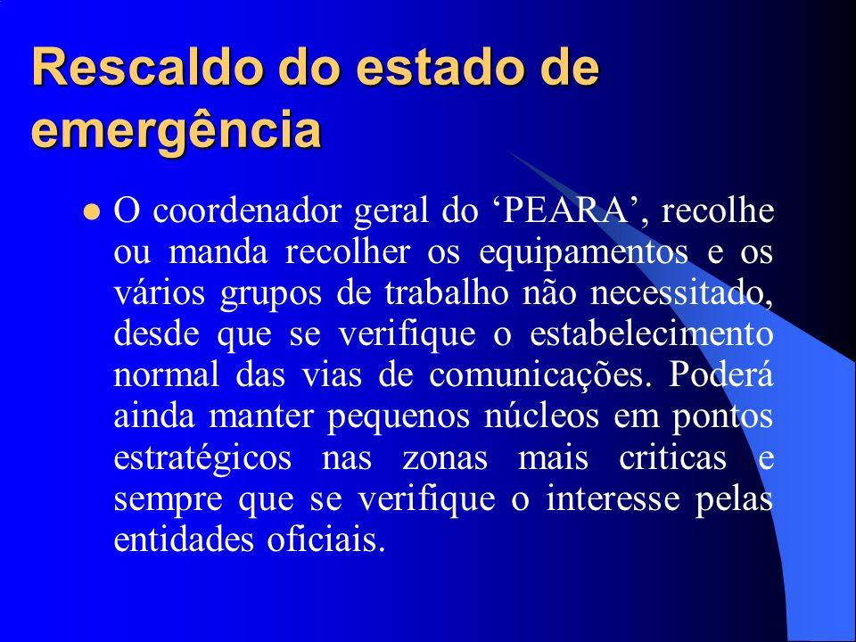 Rescaldo do estado de emergência O coordenador geral do PEARA, recolhe ou manda recolher os equipamentos e os vários grupos de trabalho não necessitad