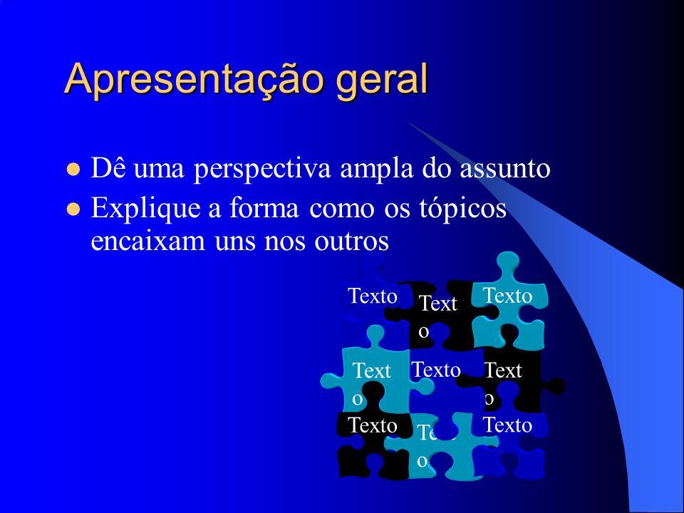 Apresentação geral Dê uma perspectiva ampla do assunto Explique a forma como os tópicos encaixam uns nos outros Text o