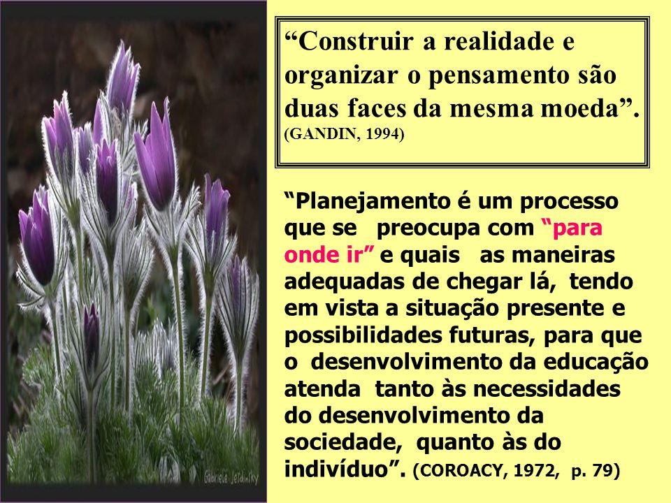 Construir a realidade e organizar o pensamento são duas faces da mesma moeda.