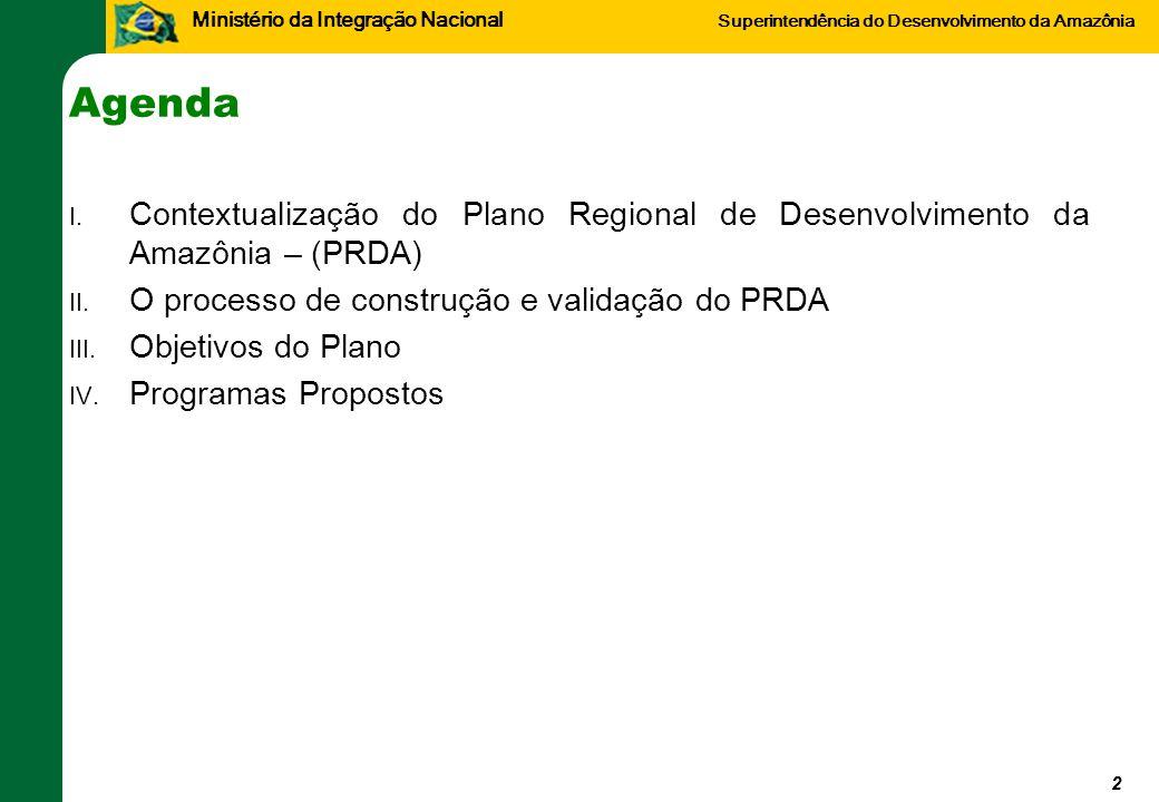 Ministério da Integração Nacional Superintendência do Desenvolvimento da Amazônia Agenda I. Contextualização do Plano Regional de Desenvolvimento da A