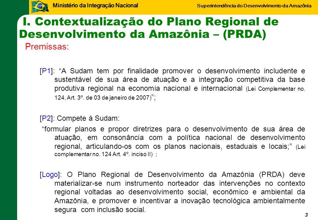 Ministério da Integração Nacional Superintendência do Desenvolvimento da Amazônia I. Contextualização do Plano Regional de Desenvolvimento da Amazônia