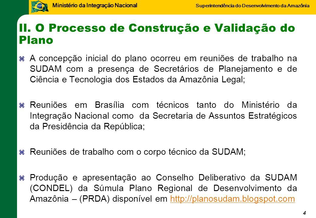 Ministério da Integração Nacional Superintendência do Desenvolvimento da Amazônia II. O Processo de Construção e Validação do Plano A concepção inicia