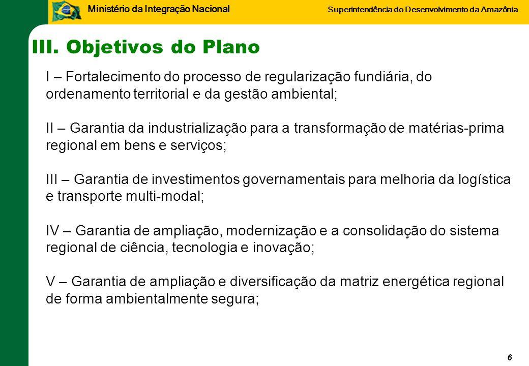 Ministério da Integração Nacional Superintendência do Desenvolvimento da Amazônia III. Objetivos do Plano 6 I – Fortalecimento do processo de regulari