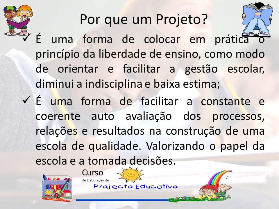 Curso de Elaboração de Por que um Projeto? É uma forma de colocar em prática o princípio da liberdade de ensino, como modo de orientar e facilitar a g
