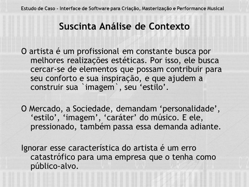 Suscinta Análise de Contexto O artista é um profissional em constante busca por melhores realizações estéticas.