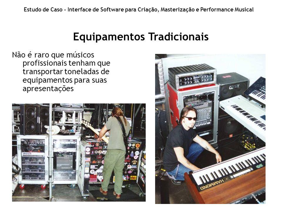 Equipamentos Tradicionais Estudo de Caso - Interface de Software para Criação, Masterização e Performance Musical Não é raro que músicos profissionais tenham que transportar toneladas de equipamentos para suas apresentações