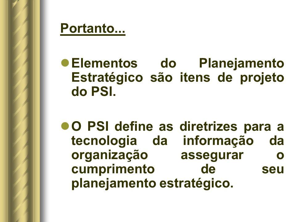 Portanto...Elementos do Planejamento Estratégico são itens de projeto do PSI.