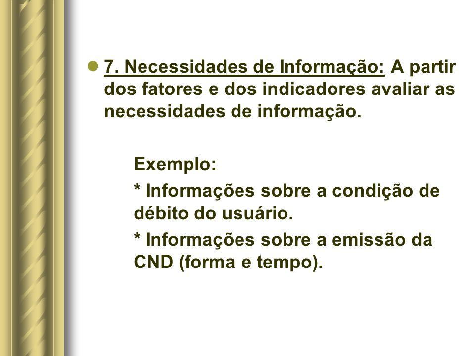 7. Necessidades de Informação: A partir dos fatores e dos indicadores avaliar as necessidades de informação. Exemplo: * Informações sobre a condição d