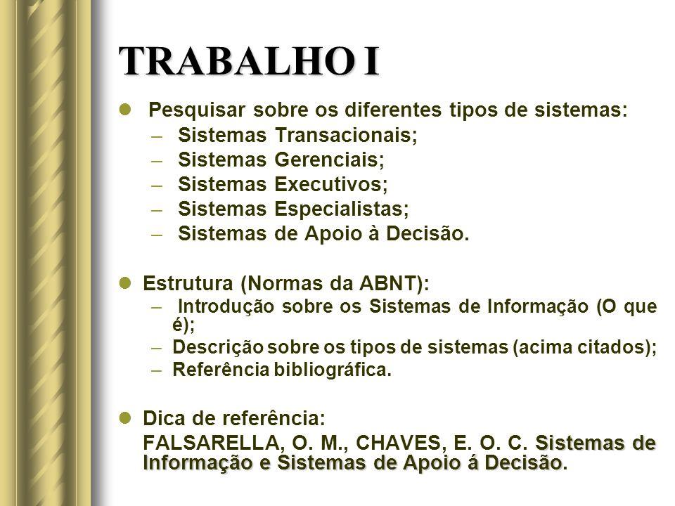 TRABALHO I Pesquisar sobre os diferentes tipos de sistemas: – Sistemas Transacionais; – Sistemas Gerenciais; – Sistemas Executivos; – Sistemas Especialistas; – Sistemas de Apoio à Decisão.